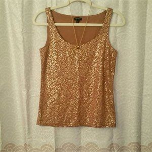 Talbots Sequin Sparkle Gold Brown Top Extra Small